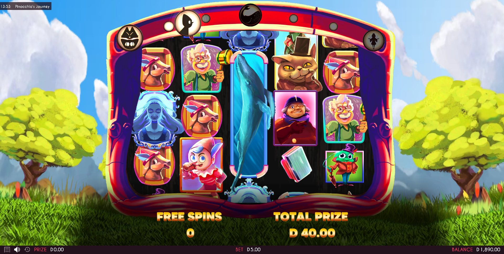 pinocchios journey free spins