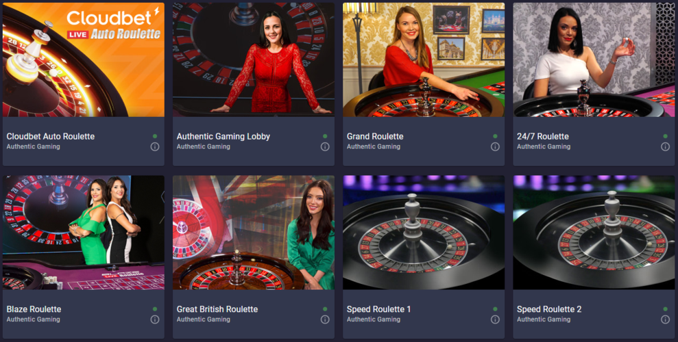 Authentic Gaming live roulette tables